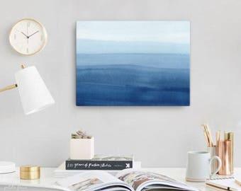 Watercolor Ocean Painting Abstract Canvas Print - Aqua Teal Blue Sea Coastal Beach Giclee Art Print - 8x10/11x14/12x16/16x20 - Marine