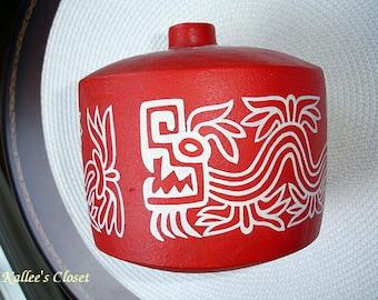 Vintage Round Bright Red Vase w/White MAYAN Design Stamped HDA UXMAL