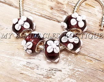 Burgundy Wine Large Hole Beads - White Flowers - European Style Charms - Floral Murano Glass - Wholesale Bulk Lot - fits DIY Bracelets Gifts