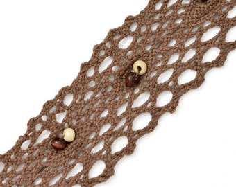 Vintage Beaded Cluny Lace Trim, 1-1/4 Inch by 1 Yard, Brown, SP-2021
