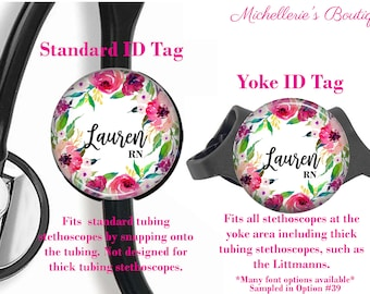 Personalized Stethoscope ID tag, Tropical Floral Watercolor Stethoscope Id Tag, Stethoscope Name Id tag,Stethoscope Name Tag, MB464