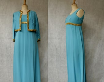1960s Axure Blue & Gold Gown and Jacket