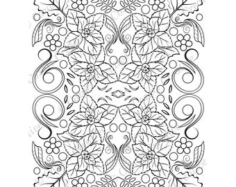 Adult coloring page, kaleidoscope, flower, butterfly, swirl, mint, leaf, floral. Spring Flowers. PDF
