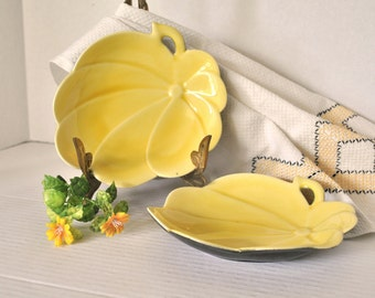 Unique Yellow and Gun Metal Flower Shape Porcelain Snack Plates, Set of 2 Mid Century, Plus FREE Dish Towel