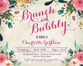 BRUNCH & BUBBLY INVITATION, Wine Invitation, Champagne Invitation, Bridal Shower Invitation, Watercolor Flowers Invite, sfc