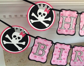 Pirate Princess Silver Glitter Pink Crown Happy Birthday Banner