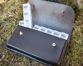 The Harris 7 day Pill Organiser, handmade leather pill case, travel pill organiser, medicine case, medicine bag,  pill organizer.