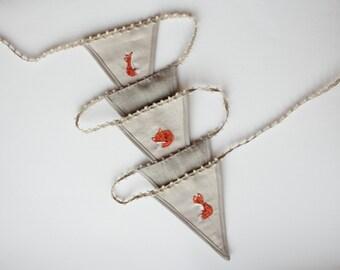 3 Fox garland, hand embroidered wall banner, children nursery decor
