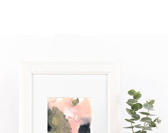 "Small original abstract painting ""Growth"" by Jules Tillman dusty pink, rose quartz, black, grey, white. Modern home decor. Contemporary art"