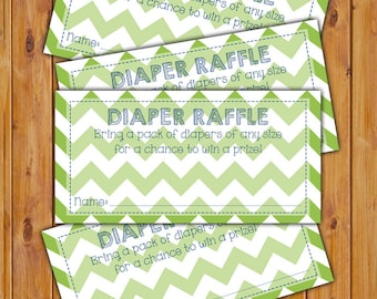 Diaper Raffle Card for Baby Shower Green Chevron Invitation Inserts Printable PDF--Instant Download