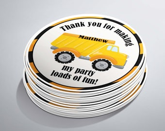 Dump Truck Birthday, Dump Truck Stickers, Dump Truck Party, Boy Dump Truck, Construction Party, Construction Favors, Thank You Bags
