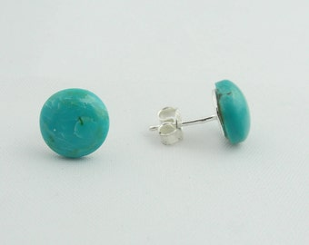 Turquoise Stud Earrings - Sterling Silver