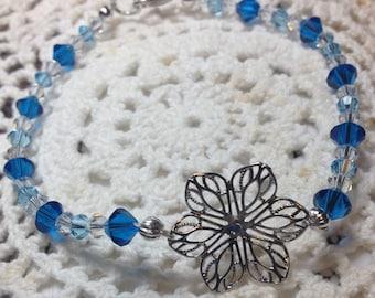 Blue Swarovski  and Sterling Silver Flower Bracelet.