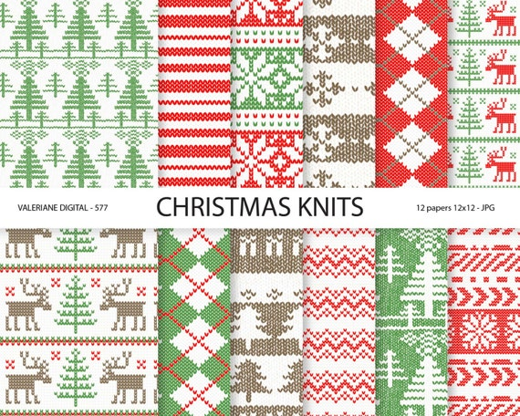 Christmas Sweater Digital Paper Winter Knits Red And Green Winter