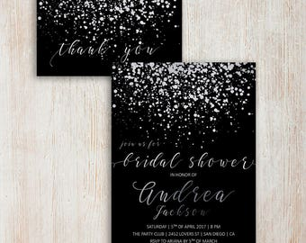Bridal shower invitation printable simple bridal shower elegant bridal shower invitation silver glitter invitations digital silver bridal shower invite printable simple bridal shower filmwisefo
