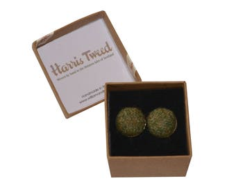 Harris Tweed Lovat Green Handmade Boxed Cufflinks