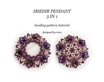 Shedir Pendant 3 in 1 - Beading Pattern/Tutorial - PDF file for personal use only