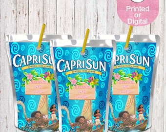 Moana Inspired Juice Pouch-Moana Juice Pouch Labels-Custom Juice Labels-Moana Luau-Capri Sun Label-Koolaid Jammers Label