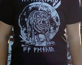 Fenrir T-shirt - vikings, mythology, clothing, shirt, norse, wolf, moon, mountain
