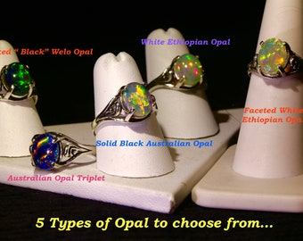 """CHOOSE your OPAL TYPE for any of the rings. Solid Australian Black opal, Opal Triplet,White or """"Black"""" Ethiopian Welo Opal,Faceted Welo Opal"""