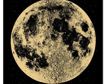 Moon Print Moon Poster Moon Art Moon Wall Art, Full Moon, Gold Moon, Space Print, Boho metallic ink stellar, luna lunar wall art space stars