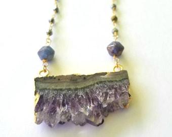 Amethyst Druzy Slice on Pyrite Rosary Chain