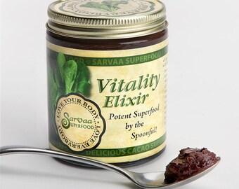 SARVAA SUPERFOOD Vitality Elixir - SuperGreens + Raw Cacao - 7 oz Organic Vegan Paleo Raw Chocolate Superfoods Greens Health Food Snack Supp