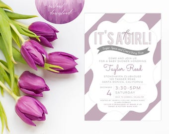 Printable Instant Download Baby Shower Invitation | Girl Baby Shower Invitation | Baby Shower Invite | Purple Baby Shower Invitation