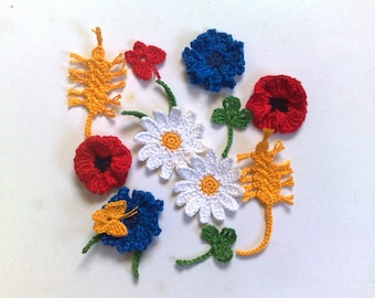 Set wildflowers crochet Рoppies Cornflower  Daisies Wheat Clover Summer decor flowers