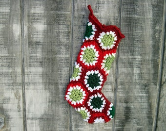 Crocheted Granny Square Christmas Stocking-slightly smaller than other stock