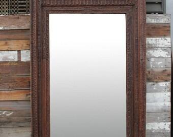 19th Century Khatu Carved Floor Mirror, Indian Floor Mirror, Carved Floor Mirror, Antique Mirror, Tall Mirror,  Indian Carved Full Mirror