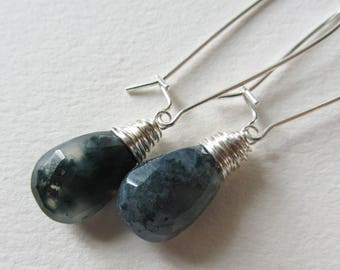 Moss Agate Kidney Earrings - Wire Wrapped Sterling Silver Jewelry Handmade in Seattle in the Pacific Northwest - Green and White Gemstones