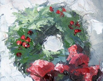 Christmas Wreath With Snow and Holly Berries, Giclee Print from Original Oil Painting, 8 x 8