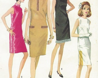 1960s Womens MOD Sheath Dress in Six Versions McCalls Sewing Pattern 9029 Size 14 Bust 34 UnCut Vintage Sewing Patterns