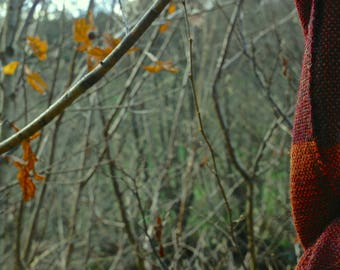 Luxurious handwoven wool scarf in rust, red, mulberry, burgundy, teal and olive alpaca and Shetland wool