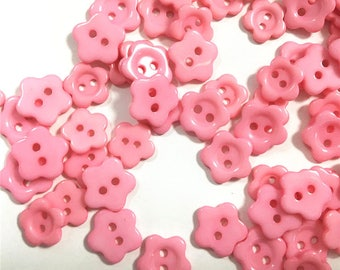 20 buttons pink resin flower