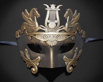 Men's Masquerade Mask, Roman Mask, Masquerade Ball Mask, Men's Mask, Sun God Dance Mask - Dark Gold