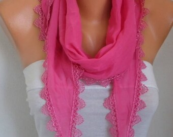 Easter Gift, Hot Pink Cotton Scarf, Summer Scarf,Cowl Scarf,Necklace,Bridesmaid Gift For Her mom,Women Fashion Accessories,Birthday  Gift