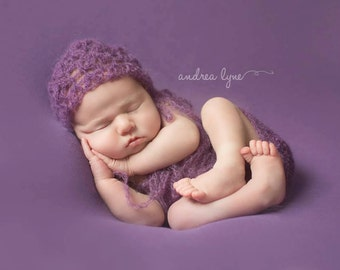 IVORY, See 2nd Pic, Newborn Romper, Bonnet, Mohair Romper and Bonnet Set, Baby Girl, Plum, Newborn Photo Prop, Ready to Ship