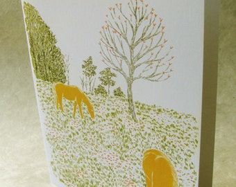 5 x 7 Notecard - A030 SIGNS OF SPRING // art card / illustration card / animal card / horse / spring / new beginnings / pastoral