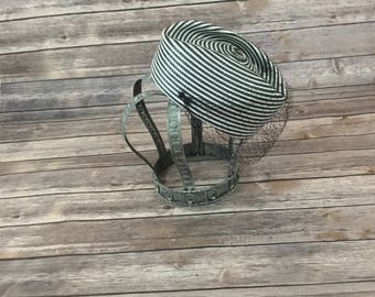 Vintage Black And White Striped Pillbox Hat with Black Netting,
