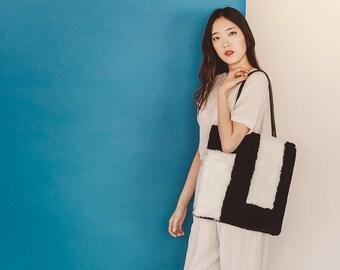 Sheepskin Blocks Patchwork Tote | Bag | Carryall | Laptop bag