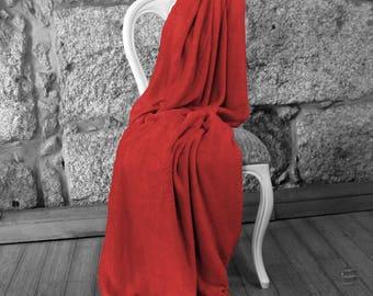 Multi-use Polar Sofa Bed Travel Fleece Blanket - Ref. Dulcelina - Red