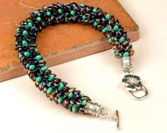 KUMIHIMO BRACELET Turquoise and Brown Spiral Bracelet Large Bracelet Gift for Her Birthday Gift Anniversary Gift Handmade Bracelet srajd
