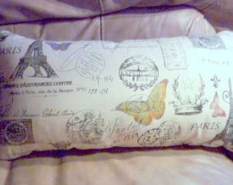 Lumbar Pillow Cover - Premier Prints French Stamp - Butterfly - Eiffel Tower -12x22 Lumbar Pillow - French Country Decor