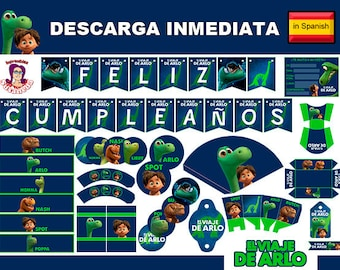 El Viaje de Arlo Party kit Printable in Spanish, The Good Dinosaur Party Supplies in Spanish, Spot, Momma, Poppa, Libby, Instant Download!!