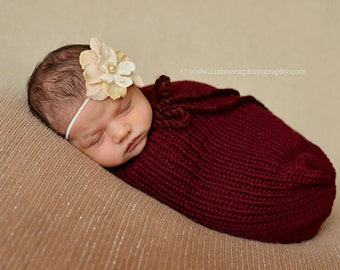 Cranberry Red Swaddle Sack Newborn Baby Photography Prop