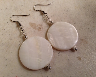 White Earrings - Mother of Pearl Jewelry - Silver - Gemstone Jewellery - Modern - Fashion