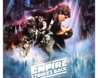 "The Empire Strikes Back - Luke Skywalker Princess Leia Darth Vader 13""x19"" or 24""x36""  Sci Fi  Movie Poster Art - Starwars Han Solo R2D2"