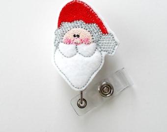 Santa Face - Retractable ID Badge Reel - Name Badge Holder - Nursing Badge - Nurse Badge Holder - Nursing Badge Clip - Holiday Badge